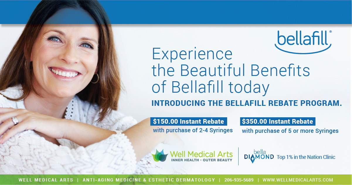 Looking for a deal on Bellafill in Seattle. We are pleased to offer instant rebates of up to $350.00 through December 2017. Call Well Medical Arts at 206-935-5689 to learn more.