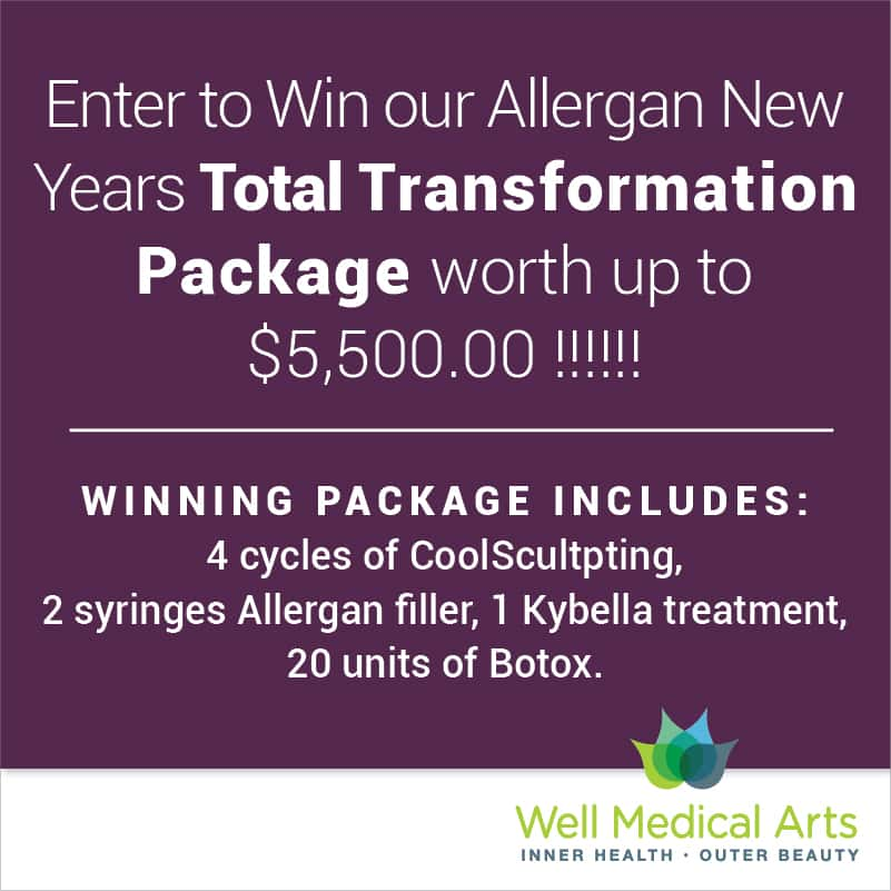 Get Glamorous for the Holidays and Enter to Win our Allergan New Years Total Transformation Package worth up to $5,500.00! * This incredible Total Transformation package includes: 4 cycles of CoolSculpting, 2 syringes of any Allergan filler, 1 Kybella Treatment and 20 units of Botox. WOW!!!!!!!!!! *No substitutions or exchanges. Consultation required to determine a treatment plan.