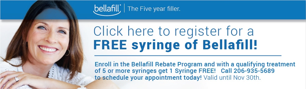 Register for a Free Syringe of Bellafill with a qualifying treatment of 5 syringes.