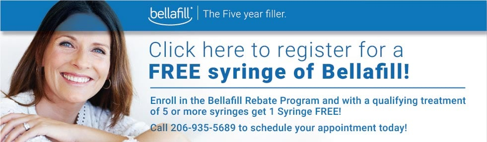 Receive on FREE syringe of Bellafill with a qualifying treatment of 5 or more syringes at Well Medical Arts in Seattle.