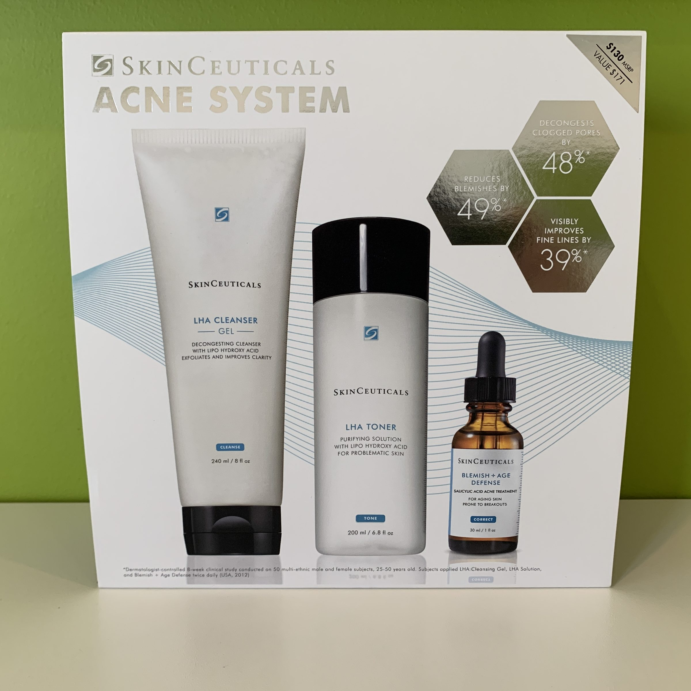 This three-step regimen is clinically proven to reduce sebum and improve fine lines. Formulated to treat adult acne, these products also correct the signs of damage resulting from blemishes and aging such as enlarged pores, rough texture, and fine lines. LHA Cleansing Gel (240ml): Potent cleanser with LHA, glycolic acid, and salicylic acid unclogs pores, smoothes irregularities, and brightens skin. LHA Toner (200ml): Exfoliating low-pH toner efficiently removes excess residue and surface cells to decongest pores. Blemish + Age Defense (30ml): Targeted, oil-free serum prevents the formation of acne, minimizes blotchiness, and reduces the appearance of fine lines and wrinkles. Find it at Well Medical Arts in West Seattle!