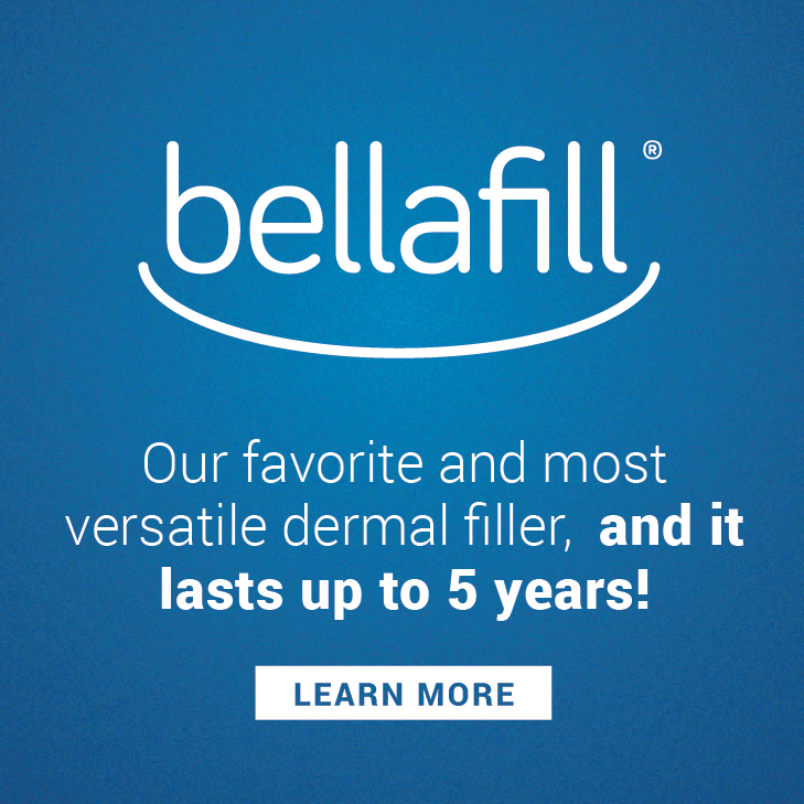 Refresh your look with Bellafill. Bellafill is the longest lasting dermal filler available, with the longest safety study of any dermal filler on the market and or favorite filler for doing the liquid facelift.  With a 5 year indication Bellafill is the most cost effective filler on the market for long-term correction. Enroll in the Bellafill Rebate program through 2020 and get an additional syringe FREE when completing a qualifying treatment of 5 syringes!